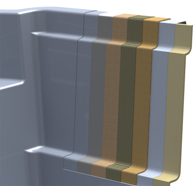 polyester pool wall structure